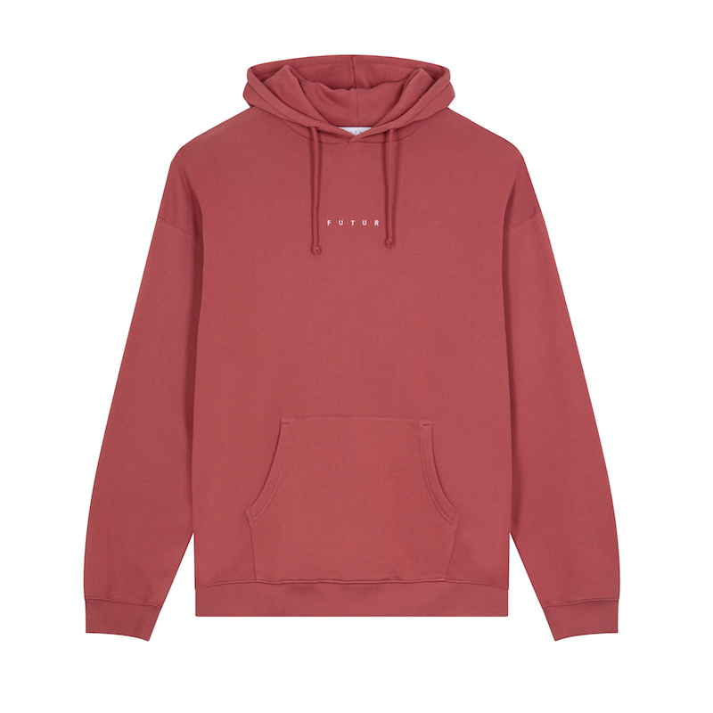 FUTUR_LOGO G FIT HOODIE_SOFT RED_FRONT