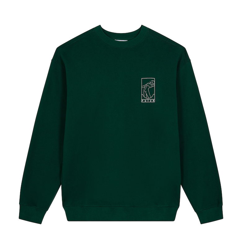 FUTUR_N01 G FIT CHEST CREW_FOREST GREEN_FRONT