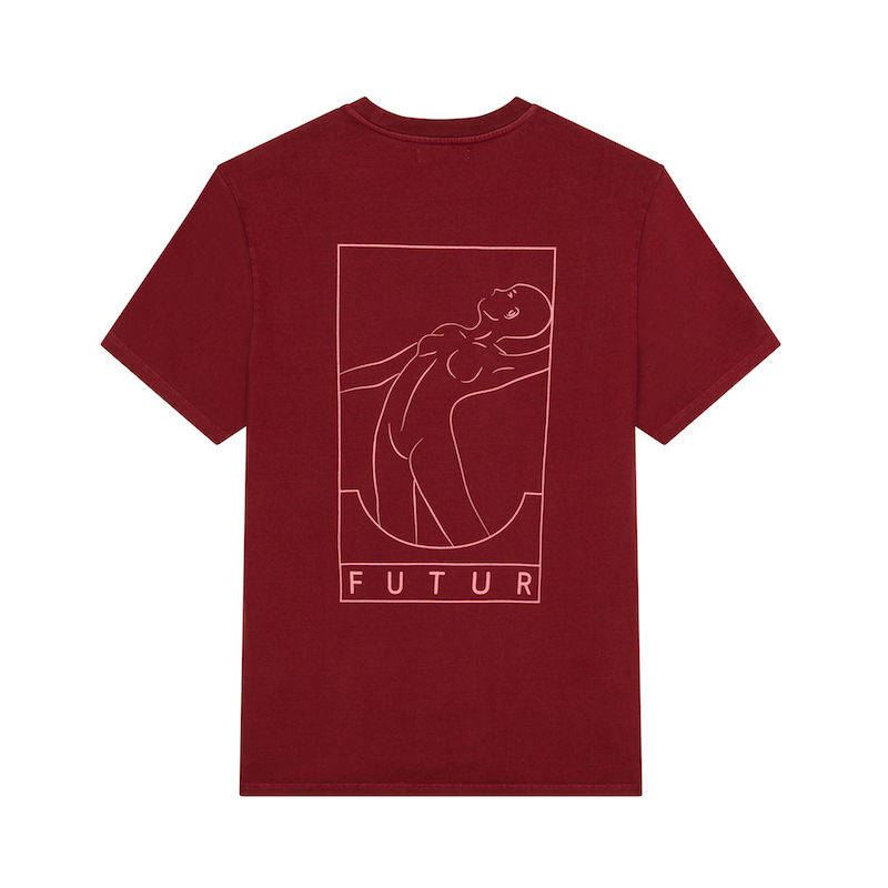 FUTUR_OUTLINE 01 CORE TEE_DARK RED_BACK